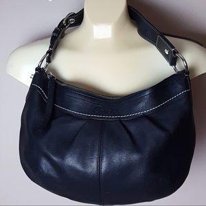 Coach black leather hobo shoulder purse bag